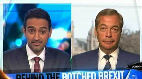 The Project host didn't hold back when questioning Mr Farage's decision to accept his MEP pension. Picture: Channel 10