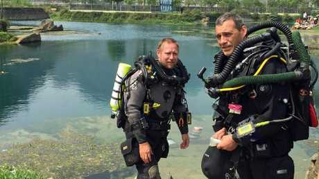 Retired Perth vet and cave diving expert Dr Craig Challen (right) with his Adelaide diving partner Dr Richard Harris.