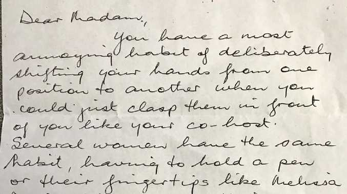 ABC presenter Virginia Trioli was sent this letter by an outraged viewer. Picture: Twitter