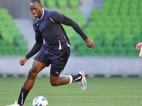 Jamaican sprinter Usain Bolt played a practice match with the Melbourne Heart youth team on AAMI Park,