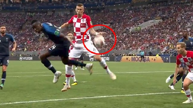 The handball penalty that was awarded to France in the first half.