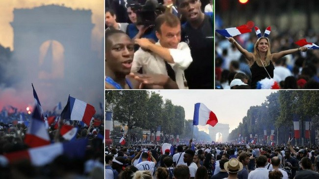 Incredible scenes along the Champs Elysees.