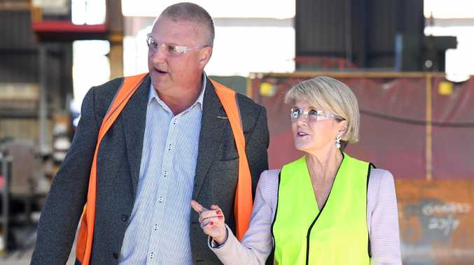LNP candidate for Longman Trevor Ruthenberg (left) and Minister for Foreign Affairs Julie Bishop are seen during a visit to Atlas Heavy Engineering. Picture: AAP/Dave Hunt