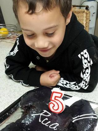 Rua pictured on his fifth birthday in 2015. The eight-year-old boy was killed over the weekend.