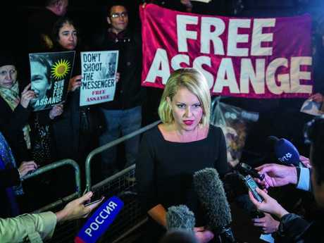 Australian human rights lawyer Jennifer Robinson speaks to the press after Wikileaks founder Julian Assange was questioned by Swedish authorities in 2016. Picture: Chris J Ratcliffe/Getty Images