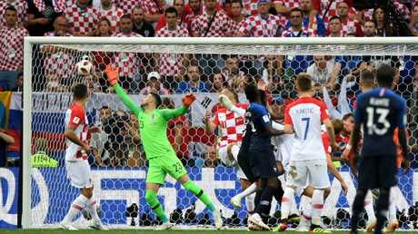 Mario Mandzukic of Croatia scores an own goal to put France in front. Picture: Shaun Botterill/Getty Images