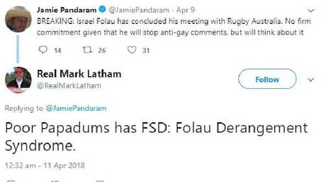 Mark Latham's racial slurs against then Daily Telegraph sport reporter Jamie Pandaram.