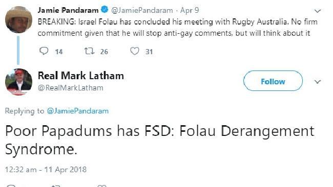 Mark Latham's racial slurs against then Daily Telegraph sport reporter Jamie Pandaram.