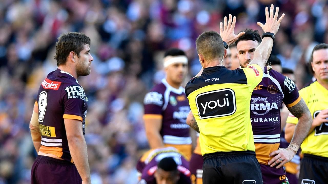 Andrew McCullough of the Broncos is sin binned for fighting.