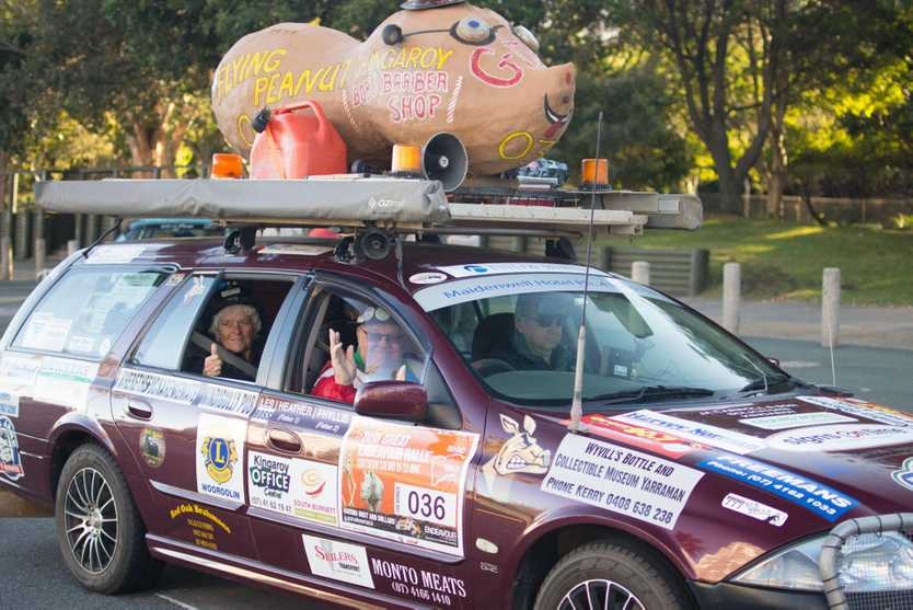 The Flying Peanut team, led by Les Porter, sets off on the 2018 Great Endeavour Rally.