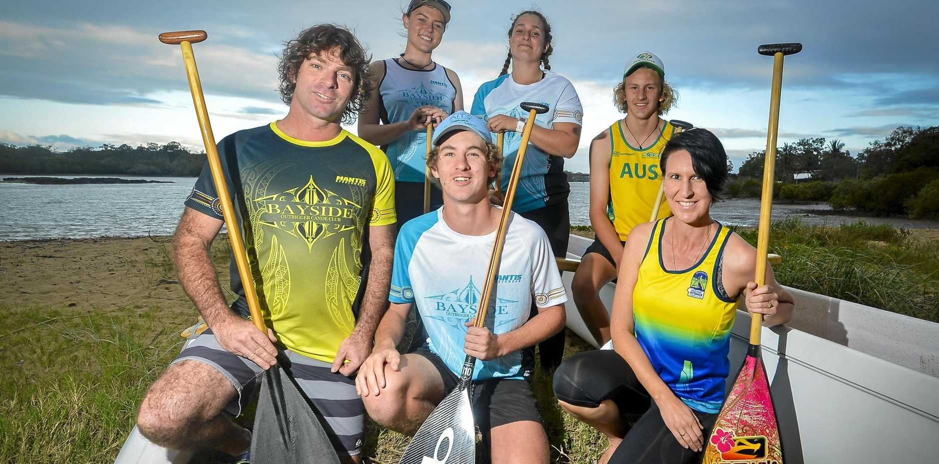 'RIGGEN PUMPED UP: Darren Bright, Joshua Hurst and Hayden Bright with Chloe Quinlan, Nicky Hurst and Tegan Carpenter ahead of their trip to Tahiti.
