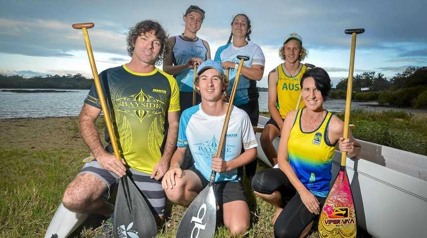 'RIGGEN PUMPED UP: Darren Bright, Joshua Hurst and Hayden Bright with Chloe Quinlan, Nicky Hurst and Tegan Carpenter ahead of their trip to Tahiti.