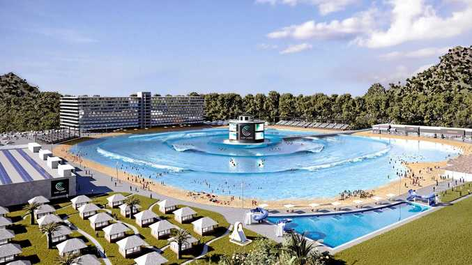 The most recent artists impression of the new wave pool.