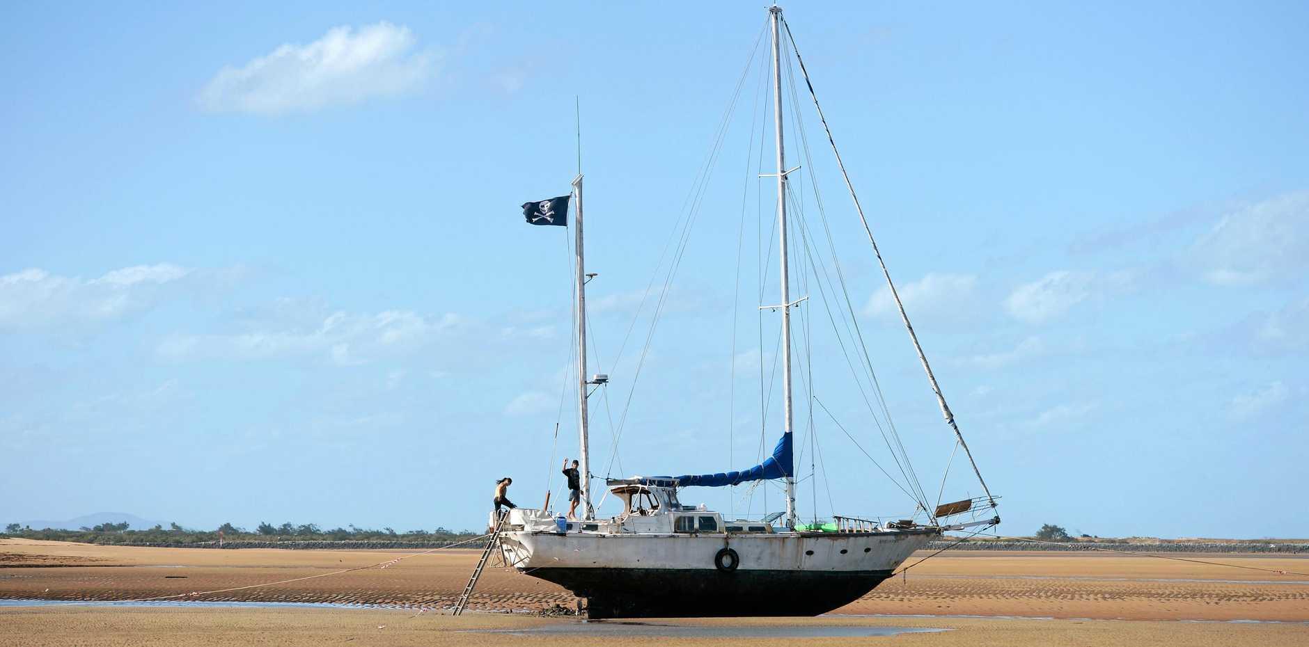 Beached Yacht on Town Beach, Mackay