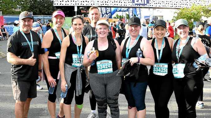SUCCESS: Andrew Rose, Maree Johanson, Cassia Einam, Tony Einam, Jasmin Sweeney, Kirsty Irwin, Emma Rose and Tara Sweeney after  the 10km Gold Coast Marathon.