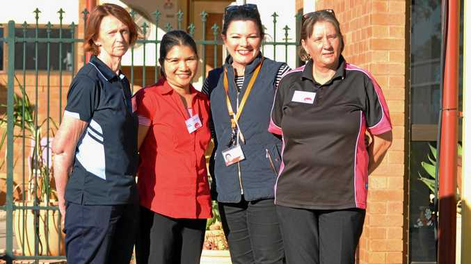 LOCAL CARE: Charleville Individual Support Teacher Sonja Street with students Virginia McDonald, Rowena Treadwell and Sandra Weier.