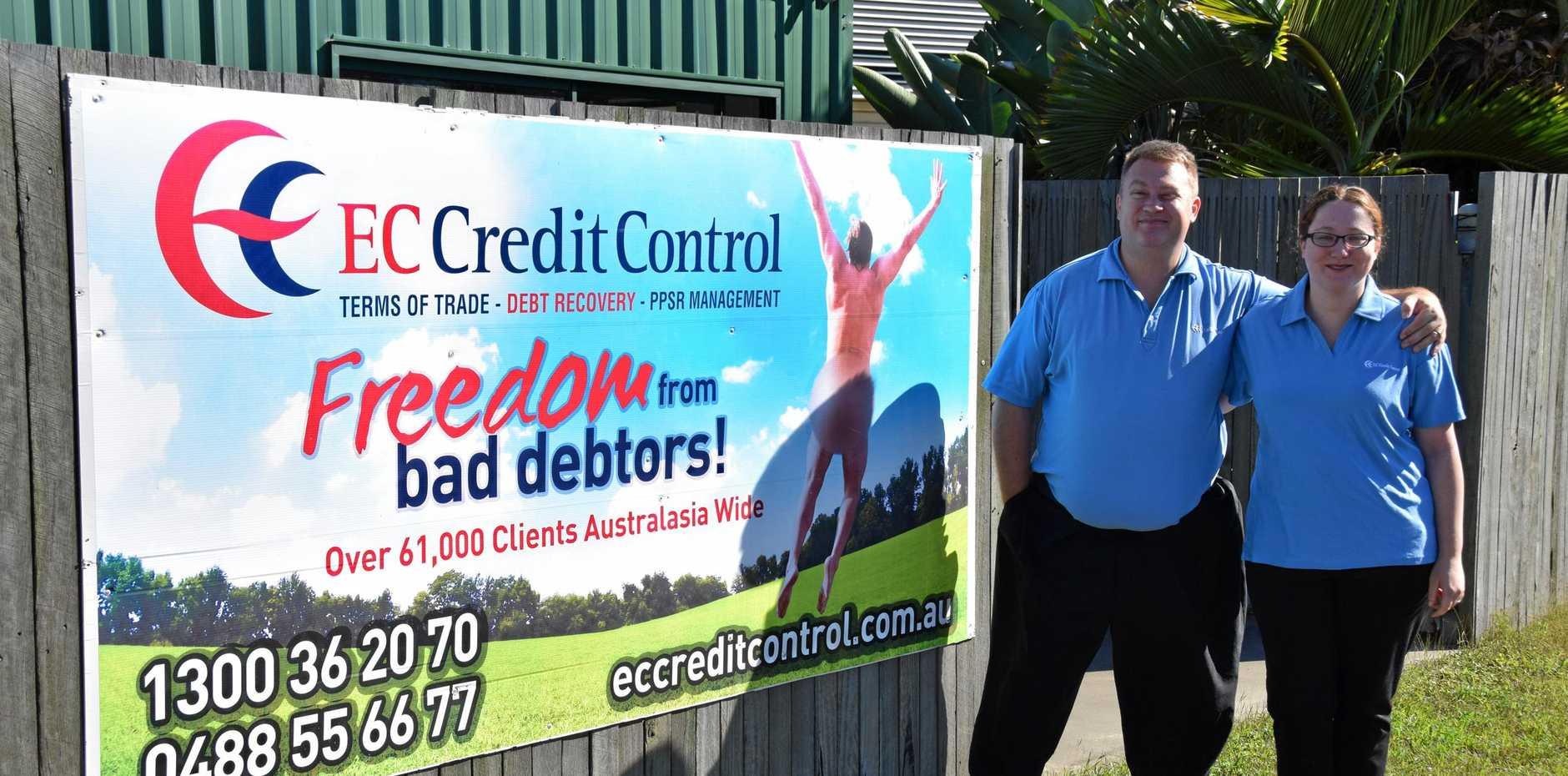 CREDIT CONTROL: Area Manager for Ec Credit Control Rockhampton Craig Carrington and personal assistant Megan Hunt.