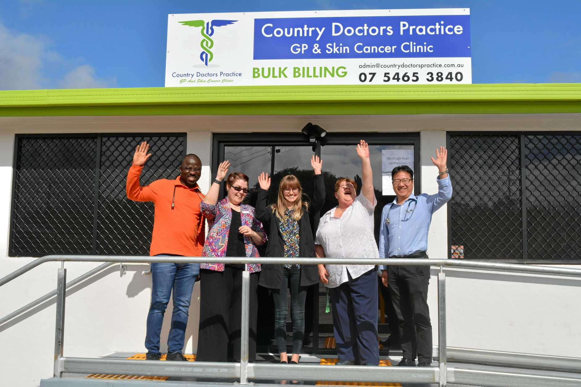 WE'RE OPEN: The Country Doctors Practice and Skin Cancer Clinic team outside of their new clinic on Patrick St