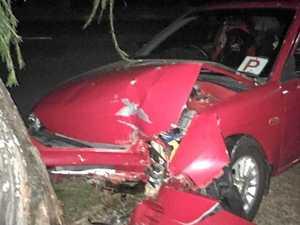Teen's lucky escape after car slams into tree in Rocky crash