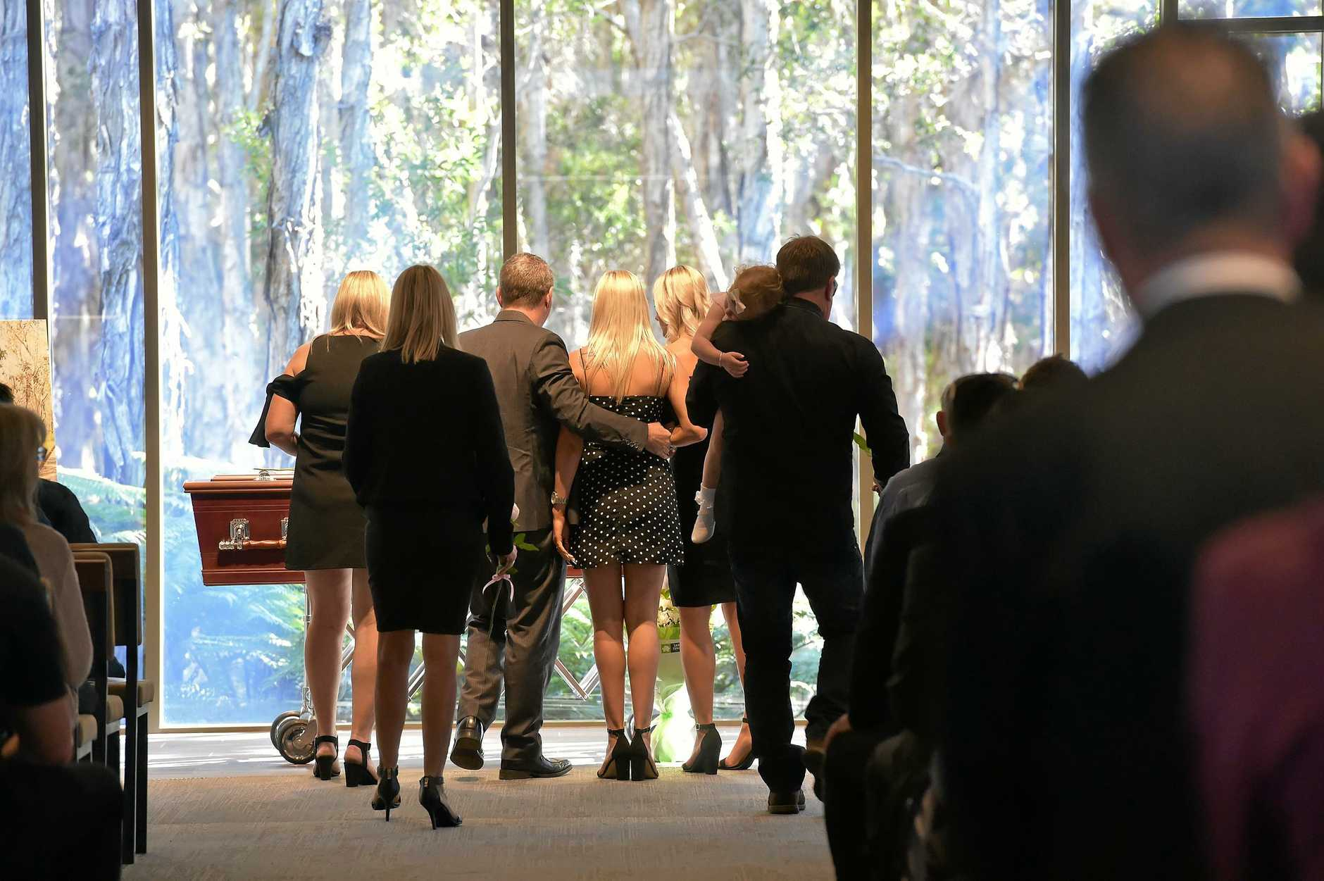 Friends and family attend the funeral of Mitchell Sibraa at the Gregson and Weight Chapel.