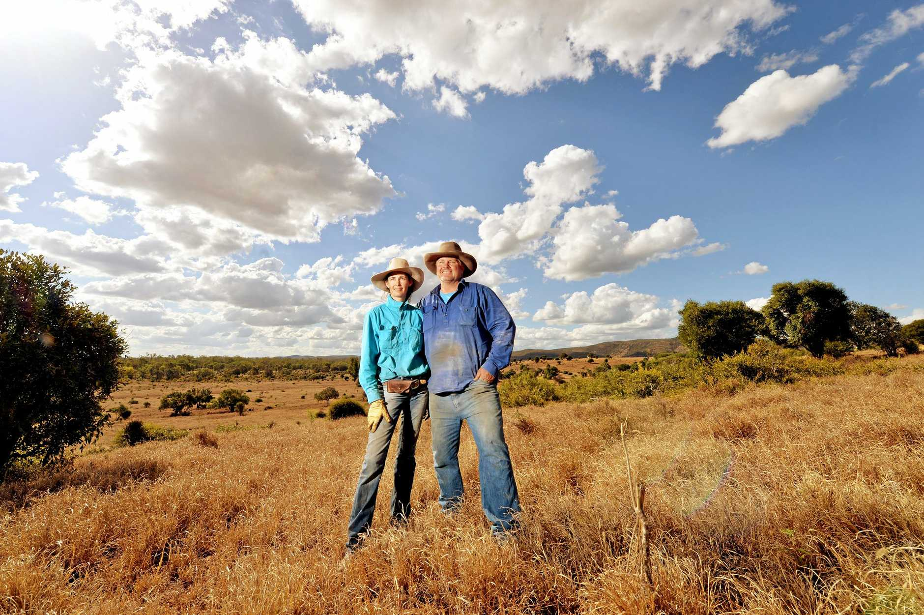 RENEWABLES COMING: Cattle Farmers Elizabeth and David Hill, near Clarkes Creek, Isaac are about to get wind and solar farms on their properties.
