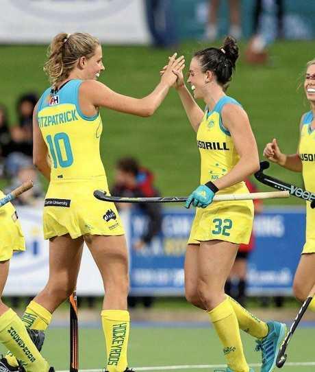 Australian Hockeyroos sisters Savannah Fitzpatrick (left) and Madison Fitzpatrick.