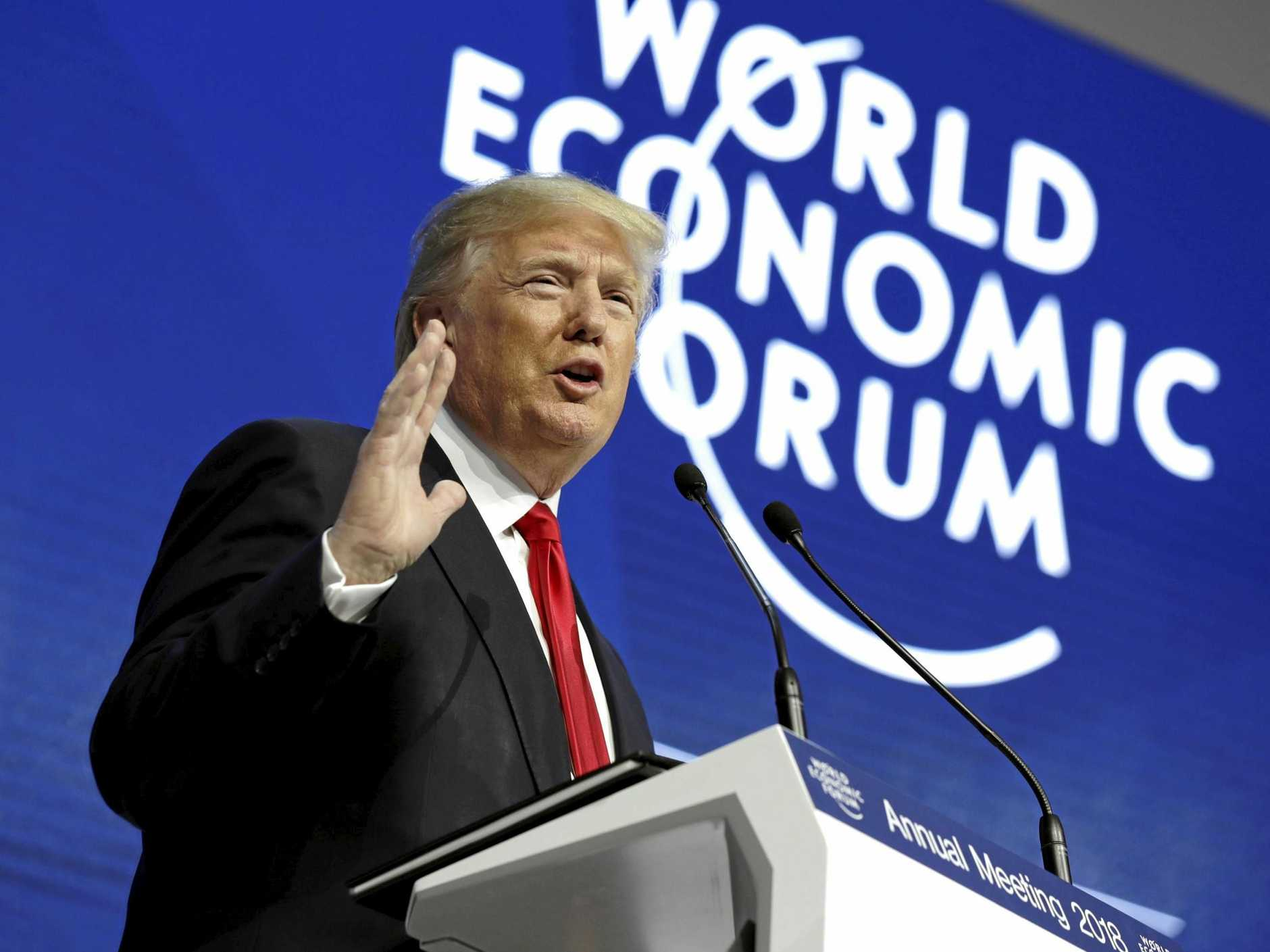 President Donald Trump speaks at the World Economic Forum in Davos, Switzerland.