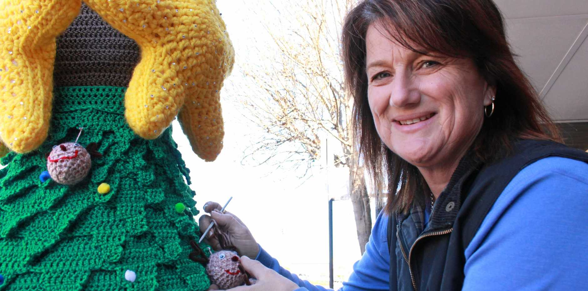 STAR SHINE: Coffee and crocheting has united a group of ladies from Warwick, who have just put up their 11th tree in the Tree Jumpers exhibition.