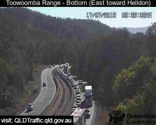 Traffic backed up on the Warrego Highway near the Toowoomba Range.