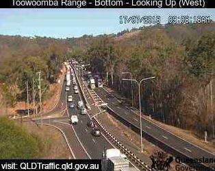 Traffic backed up on the Warrego Highway near the Toowoomba Range.