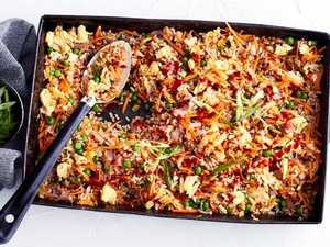 Healthier one-pan baked fried rice