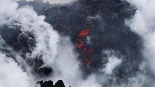 A file photo shows lava flowing into the ocean near Pahoa, Hawaii. Picture: AP