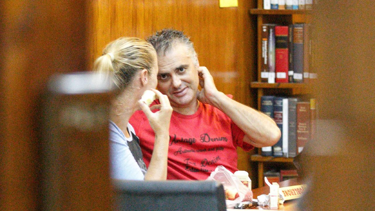 Yvette and John Nikolic are pictured at the Lautoka High Court complex in Te law library after a mention hearing in Lautoka, Fiji. Picture: Mark Stewart/ News Corp Australia