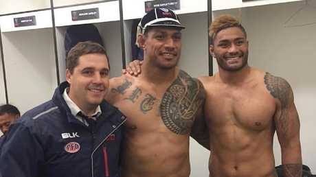 Rebels pair Lopeti Timani and Amanaki Mafi with Melbourne Rebels coach Dave Wessels. The pair had been reportedly close friends prior to their alleged bust-up. Source: Instagram