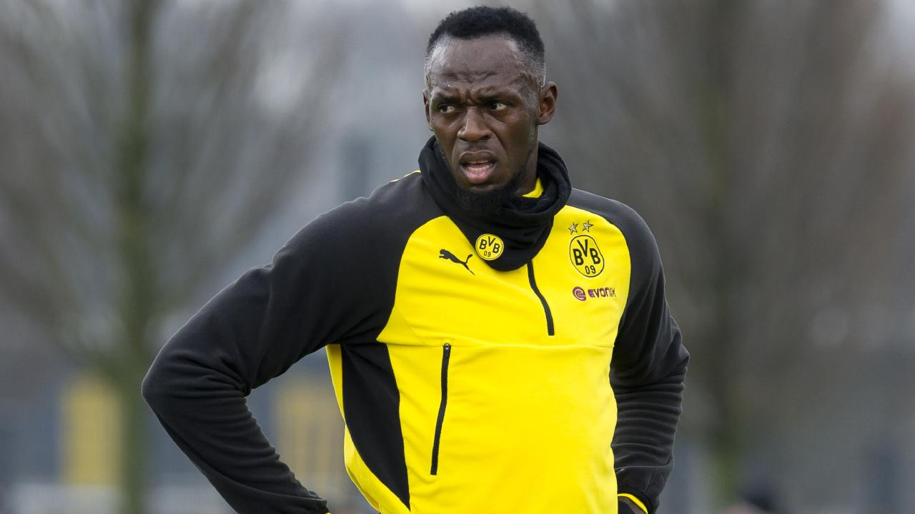 Olympic sprint champion Usain Bolt pictured training with Borussia Dortmund. The Central Coast Mariners are hoping he will trial with the club ahead of a possible A-League stint.