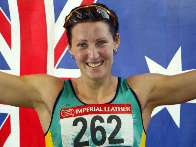 Jana Pittman after winning women's 400m hurdles at 2002 Commonwealth Games.