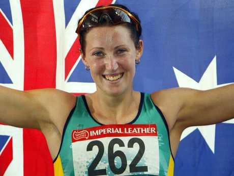 Jana Pittman after winning women's 400m hurdles at 2002 Commonwealth Games.
