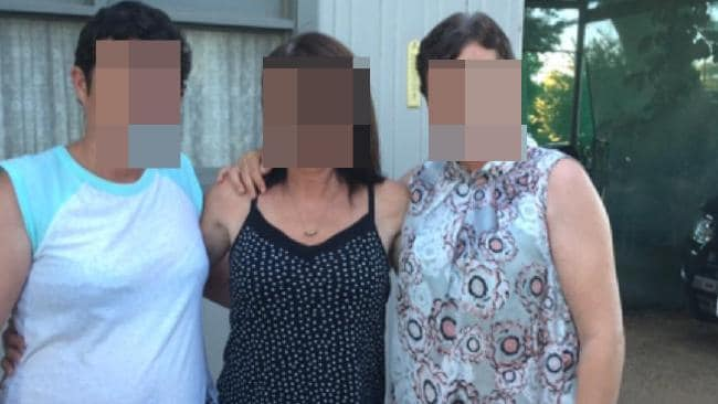 Betty Colt (centre) with her daughter Raylene (right) are two of eight Colt incest family members facing court on charges.