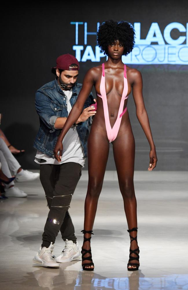 Designer Joel Alvarez walks the runway for Black Tape Project at Miami Swim Week. Picture: Arun Nevader/Getty Images
