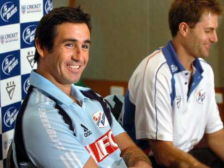 League great Andrew Johns holds a press conference with Australian Test player Simon Katich ahead of his cross-code foray.