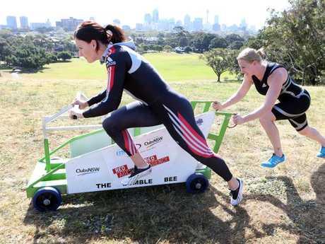 Pittmann (L) with fellow Olympian Astrid Radjenovic prepare for Sochi. Picture: Chris Pavlich.