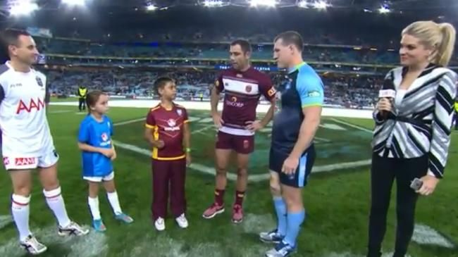 Paul Gallen and Cameron Smith tossing the coin before State of Origin