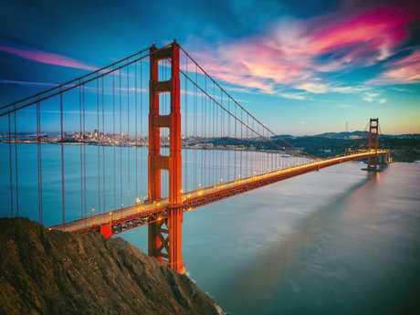 The iconic Golden Gate Bridge.