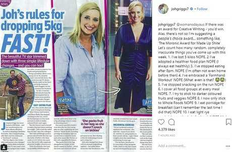 Joh Griggs takes Woman's Day to task on Instagram. Picture: Instagram