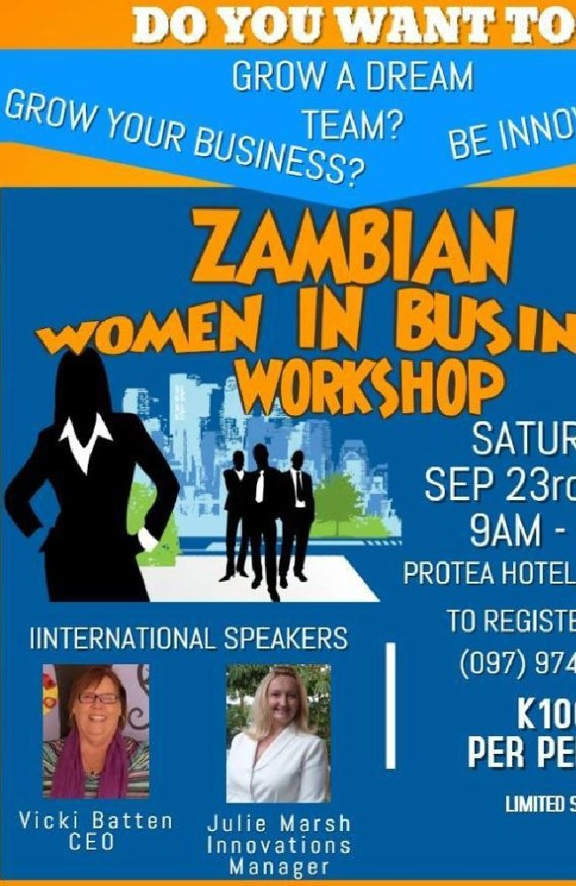 A flyer from FSG's trip to Africa with FSG CEO Vicki Batten and Julie Marsh advertising a Zambian Women in Business Workshop.