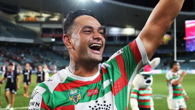 Rabbitoh's John Sutton celebrates with the fans after their win during NRL match Sydney Roosters v South Sydney Rabbitohs at Allianz Stadium. Picture. Phil Hillyard
