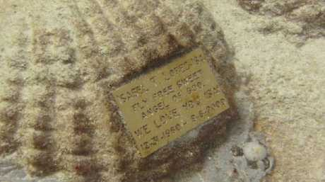 A memorial stone at the US site. Picture: Neptune Memorial Reef