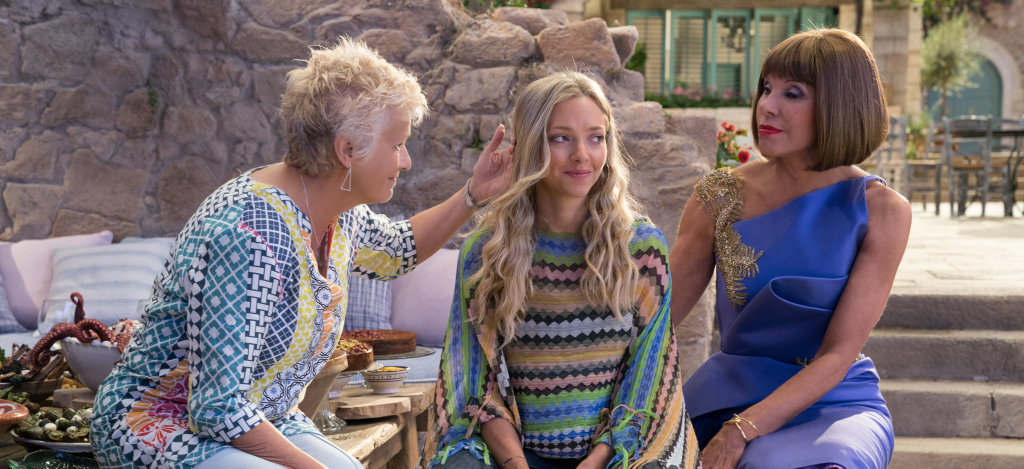 Julie Walters, Amanda Seyfried and Christine Baranski in a scene from Mamma Mia! Here We Go Again.