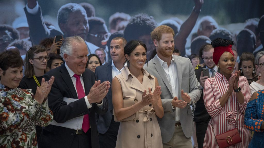 Prince Harry and Meghan, the Duchess of Sussex attend the launch of the Nelson Mandela Centenary Exhibition, marking the 100th anniversary of anti-apartheid leader's birth.