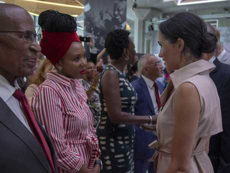 Meghan the Duchess of Sussex meets Nelson Mandela's granddaughter Zamaswazi Diamini Mandela at the launch of the Nelson Mandela Centenary Exhibition marking the 100th anniversary of anti-apartheid leader's birth